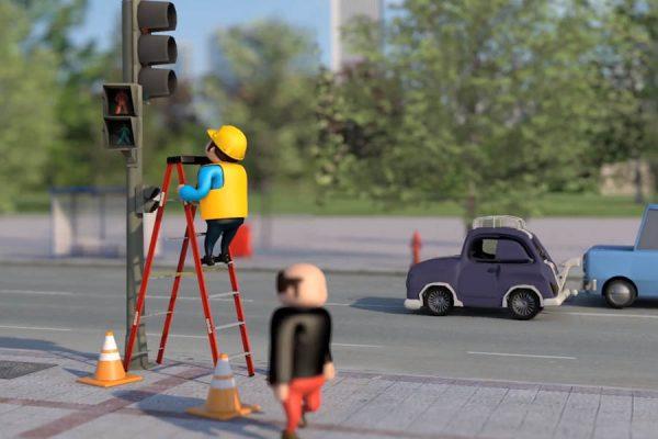 Animación 3D: Uso correcto de escaleras de trabajo